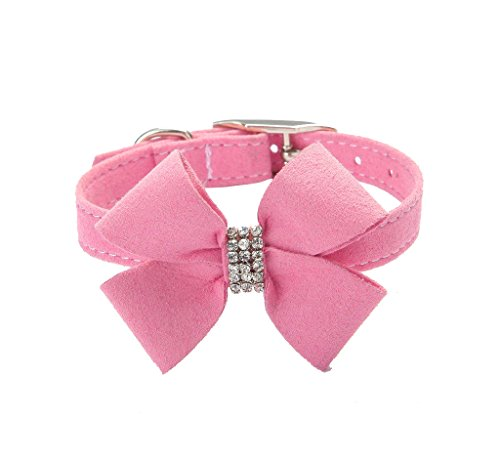 BINGPET BA2042 Bow Tie Crystal Boy Girl Dog Collar Designer Fancy Bling Rhinestone Collars for Dogs, Pink S