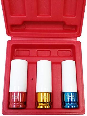 Set di 3 chiavi a bussola per avvitatore a percussione 1//2 17//19//21 mm