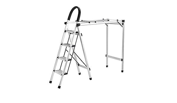 GJF Tendedero Tipo de Escalera de Estante de Secado de Tierra multifunción Escalera de Uso doméstico aleación de Aluminio Escalera Escalera de Piso Se Puede Plegar (Color : Black): Amazon.es: Hogar