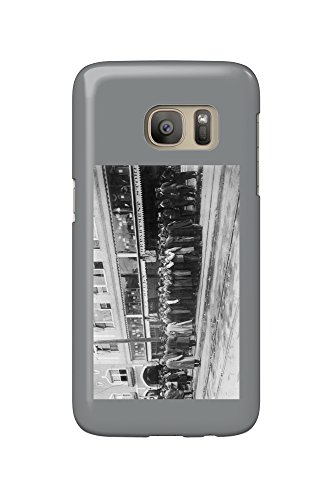 Eugene, Oregon - View of Crowds Outside the Ax-Billy Department Store (Galaxy S7 Cell Phone Case, Slim Barely (Stores In Eugene Or)