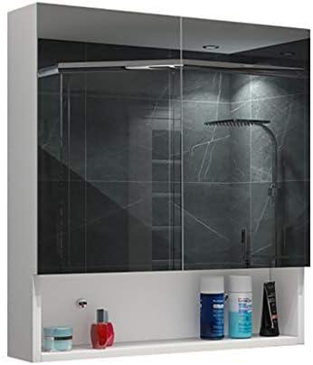 モダンバスルームミラーキャビネットLED照明の高さ:75cm / 29.5in化粧品のために掛かる貯蔵の食器棚の純木浴室ミラーキ