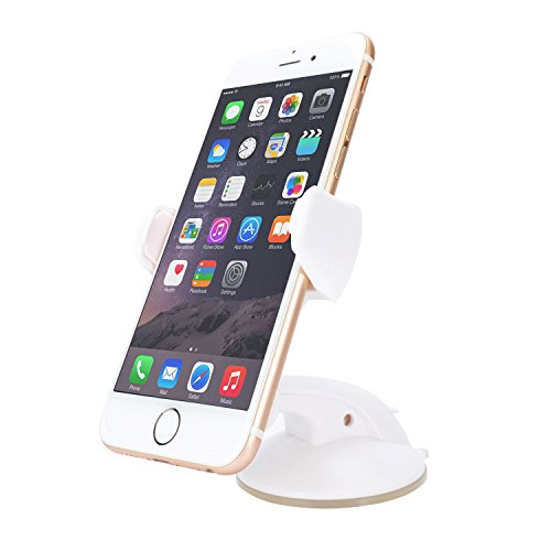 HUA CHENG(TM) Car Mount Universal Phone Holder for iPhone 7/6/6S/6S Plus/SE/5S/ 5C/5, Samsung Galaxy S7/S7 Edge/S7 Edge Plus note7 and other smartphones or GPS devices(White) (Iphone Car Mount Bean Bag compare prices)