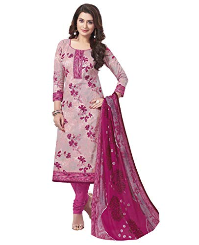 Miraan Women Cotton Un-stitched Dress Material (Band1831, Pink, Free Size)