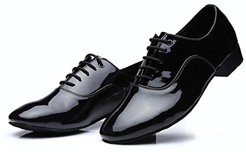 TDA Herren Klassische Lace-up PU Leder Tango Ballsaal Salsa Latin Dance Hochzeit Schuhe Schwarz