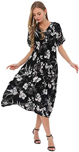 Wantdo Women's V Neck Dress Short Sleeve Floral Wedding Dresses Black White XXL