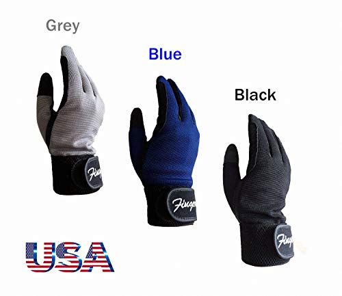 (FINGER TEN Horse Riding Gloves Kids Boys Girls Equestrian Ride Youth Value Pack, Color Black Blue Summer Comfortable Grip for Kid Age 5-13 (Black, Large(Age 9-11)) )