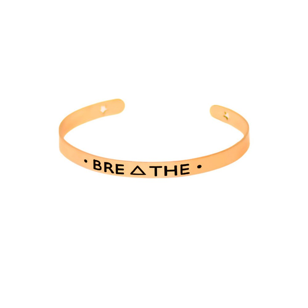 Dwcly Engraved Breathe Bangle Inspirational Hand Stamped Cuff Open Bracelet Best Gift