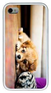 case Cute little Puppy TPU White Case for iphone 4/4S
