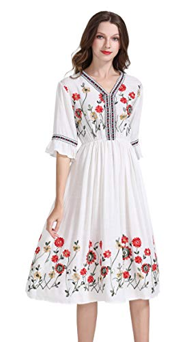 Women's Short Sleeve Mexican Embroidered Floral Pleated Midi A-line Cocktail Dress (L, White 2)