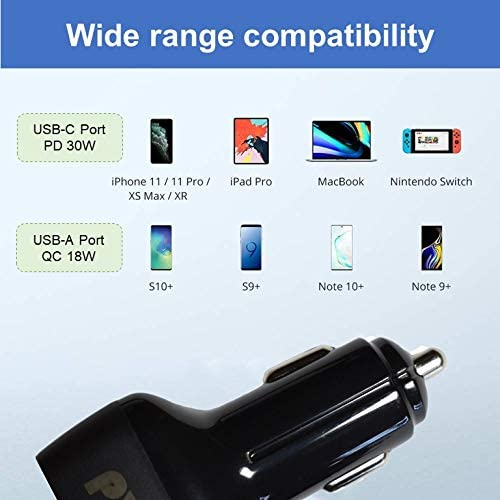 Galaxy S10+ S9+ S8+ and More iPad Pro 48W 2-Port Type C Car Adapter with 30W Power delivery /& 18W Quick Charge 3.0 Compatible with iPhone 11 Pro Max MacBook Air USB C Car Charger