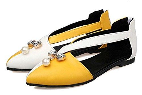Easemax Kvinna Elegant Rhinestone Kontrastfärg Spetsig Tå Cross Strap Plats Sandaler Med Dragkedja Bak Gul