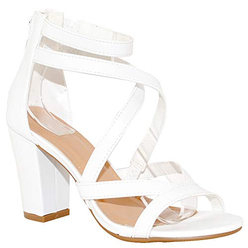 TRENDSup Collection Women's Chunky Heel Ankle Strap Sandals (10 B(M) US, White)
