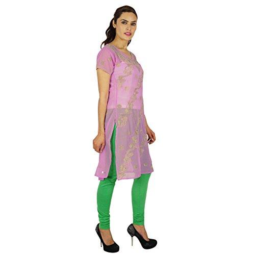 Étnica Kurti diseñador indio túnica de regalo informal para ella Bollywood Georgette Kurta Mujeres Rosa y verde-3
