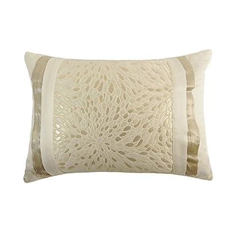FILLED WOVEN JACQUARD DIAMANTE BANDED STRIPE GOLD CREAM 30 X 40CM BOUDOIR CUSHION PILLOW CASE SHAM - Luxor Cushion