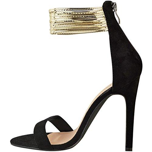 Moda Sete Delle Donne Tacco Alto Cinturino Alla Caviglia Sandali Partito Scarpe Da Ballo Dimensione Nero Faux Suede