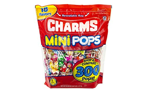 Charms Mini Pops 18 Assorted Flavors with Resealable Bag (300 Count) ()
