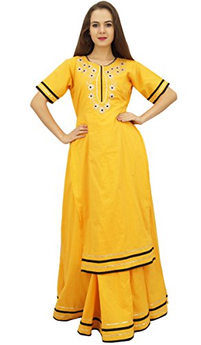 Bimba Mustard Classy Coton Long Kurta Jupe Dress Indian Clothing Moutarde