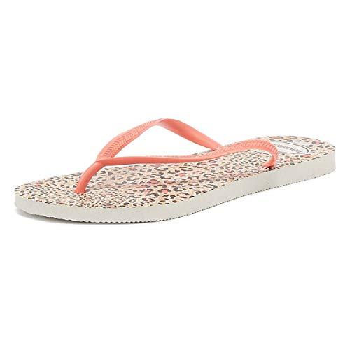Havaianas Slim Animals Womens White Flip Flops-UK 1-2 / EU 35-36