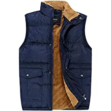 XinDao Men's Stylish Leisure Padded Vest Cashmere Warm Vest Lightweight Stand Quilted Coat