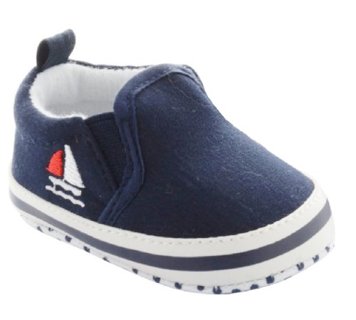 Navy Slip on Shoes with Sailboat Embroidery 3-6 Months (3.75