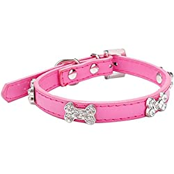 HANYI Pet Puppy Cat Dog Collar Adjustable Faux Leather And Bling Crystal With Bone Necklace (M, Hot Pink)