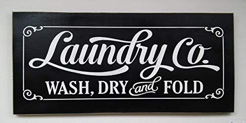 Laundry Co. Wash Dry and Fold Hand Painted Wood Sign Made In USA