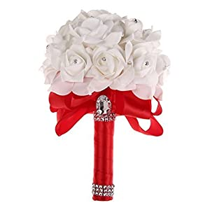 Colorful Foam Roses Artificial Flower Wedding Bride Bouquet Party (Red+White ) by Bleiou 28