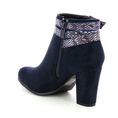 Go Tendance - Botas de Material Sintético Mujer Azul