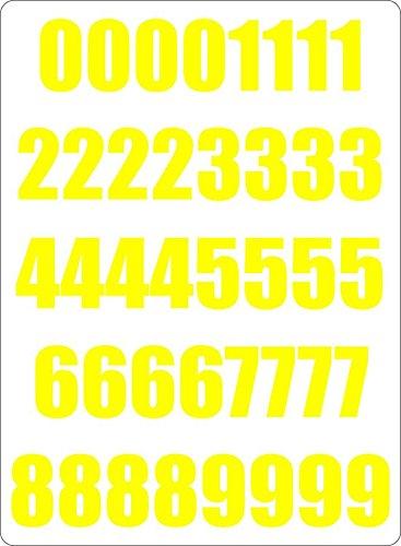 Akachafactory Set 40x Autocollant Sticker Porte Voiture Moto Numero Nombre Chiffre Course Jaune