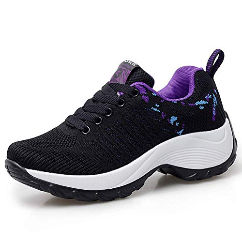 HKR Womens Comfortable Walking Shoes Lightweight Lace Up Platform Sneakers Knit Mesh Working Traveling Shoes Black Purple 7.5(ZJW1856heizi39)