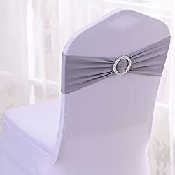 50PCS Spandex Chair Sashes Bows Elastic Chair Bands With Buckle Slider Sashes Bows For Wedding Decorations (Dark Gray)