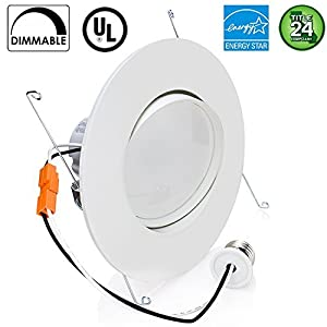 Sunco Lighting 12W 6inch Directional Adjustable Gimbal Dimmable LED Retrofit Recessed Lighting Fixture (=60W) 5000K Daylight Energy Star, UL, LED Ceiling Light 800 Lumens