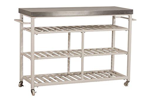Hillsdale Furniture 4701-863S Kennon Kitchen Cart with Stainless Steel Top, White (Hillsdale Kitchen Kitchen Island)