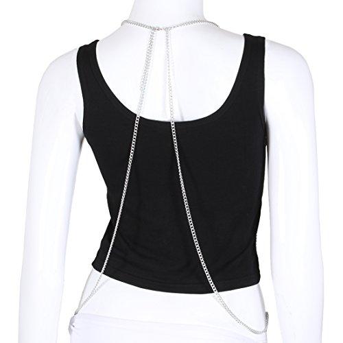 Fine Fashion Boderier Retro Bikini Bralette Chain Harness Necklace Crossover Body Chain For Women Statement Jewelry (Silver) by Fine Fashion (Image #1)