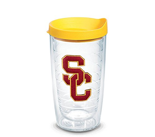 (Tervis Southern California University Emblem Individual Tumbler with Yellow Lid, 16 oz, Clear)