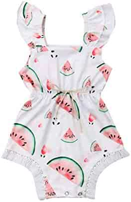 19c1c6b10 Cuekondy Baby Girls Toddler Kids One Piece Romper Jumpsuit Outfit Clothes  Summer Watermelon Print Lace Strap
