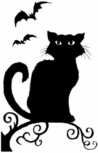 Decoración Terrorífica de Halloween para Ventana - Silueta de Bruja o de Gato - Bruja: Amazon.es: Hogar