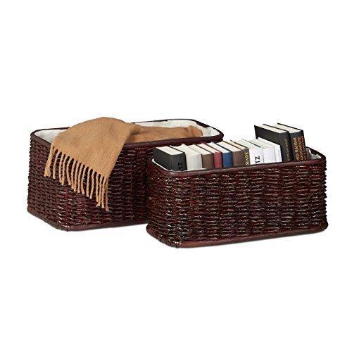 Relaxdays Buri Basket Set, 2 Woven Decorative Boxes, Lined Buri Storage Baskets, Red-Brown