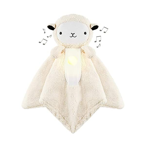 WavHello LoveBub Sound & Light Baby Security Blanket Lovey, Plush Lullaby Music Player, White Noise Soother & Soft Night Light, Machine Washable – Lou The Lamb (White Minky, 18″)