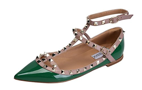 CAMSSOO Women's Metal Studs Strappy Buckle Pointy Toe Flats Comfortable Dress Pumps Shoes Green Patant PU Size 8.5 EU42 ()