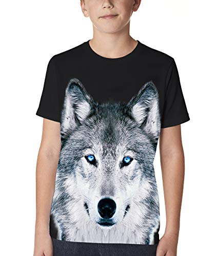 Funnycokid Little Boys' Girls' Wolf 6T-8T Crew Graphic Tee Children 3D Print Short Sleeve T Shirt