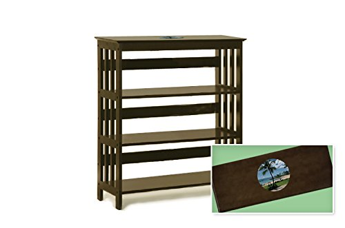New Cappuccino / Espresso Finish Book Shelf Sofa Table featuring Hawaii Beach Logo Theme by The Furniture Cove