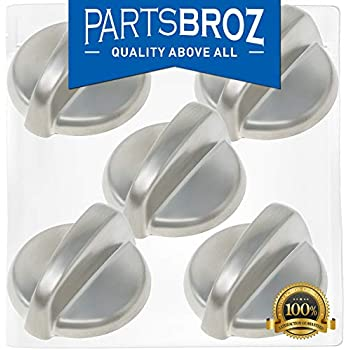 wb03t10284 burner control knobs for ge stoves, stainless steel finish by  partsbroz - replaces part numbers wb03t10284, ap4346312, 1373043,  ah2321076,