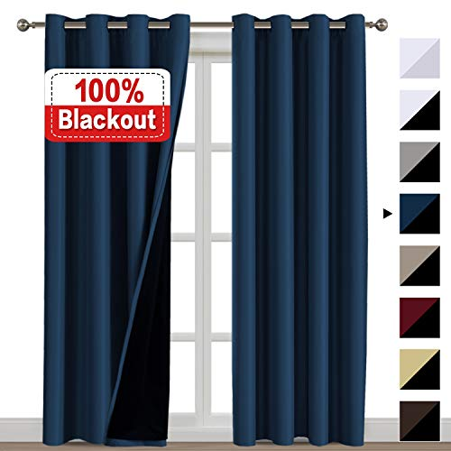 100% Blackout Curtains 108 Inches Long Thermal Insulated Energy Saving Lined Curtains for Sliding Glass Door Double Layer 2 Panel for Living Room/Patio Door, Grommet, Navy Blue