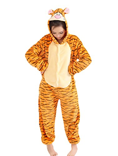 Yimidear Tiger Onesie, Unisex Adult Pajamas Tiger Animal Cosplay Costume Yellow]()