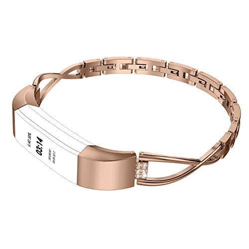 Wearlizer Compatible for with Fitbit Alta Bands Small Silver Rose Gold Fitbit Alta hr Women Metal Replacement Bands Accessories Straps Bracelet Bangle Wrist Bands Rose Gold