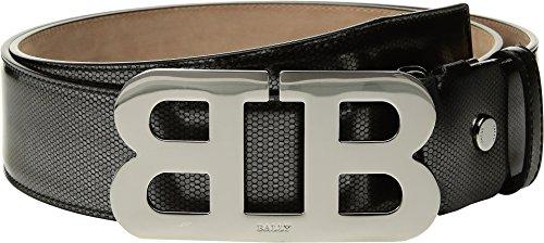 Bally  Men's Mirror B Adjustable Cateye Patent Belt Silver 110 cm (44 in.) Bally Leather Belt