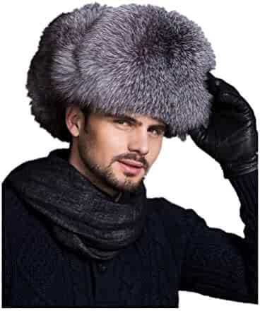 b0594269 Men Real Sheep Leather Raccoon Fox Fur Cotton Lining Bomber Hat Winter with  Earflap Warm Russian