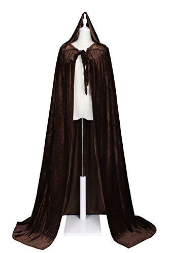LuckyMjmy Unlined Velvet Medieval Renaissance Hooded Cloak Cape (Medium, Brown) -