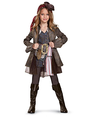 Disney POTC5 Captain Jack Sparrow Girl Deluxe Costume,  Multicolor,  Small (4-6X) ()